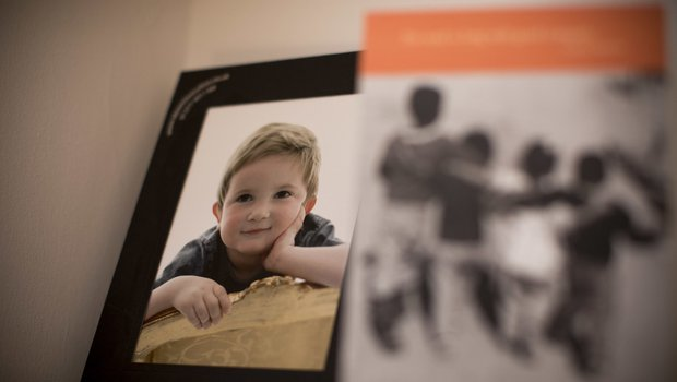 Framed photo of Hugo, in remission from childhood leukaemia