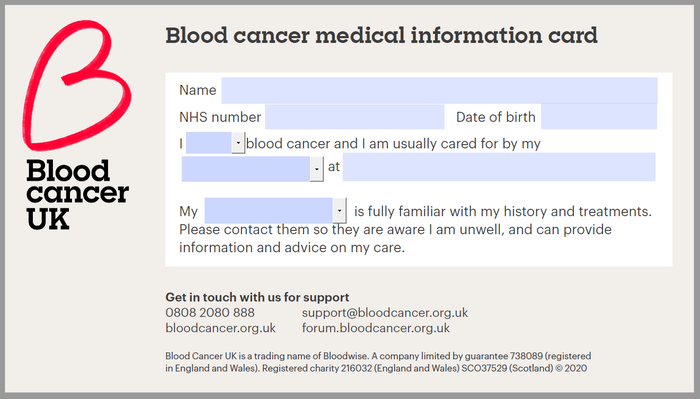 Blood Cancer Medical Information Card