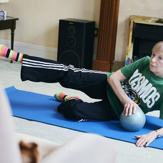 Erica living with blood cancer exercising
