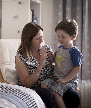 Hugo, in remission from leukaemia, with his mum