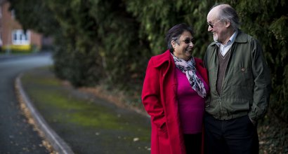 Louise, in remission from Hodgkin lymphoma, out walking with her husband