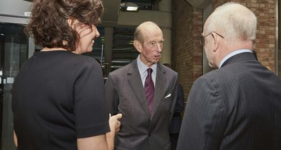 The Duke of Kent visiting a lab at UCL