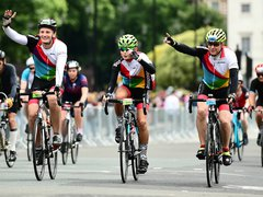 Cyclists in Bloodwise shirts at the Prudential RideLondon-Surrey 100