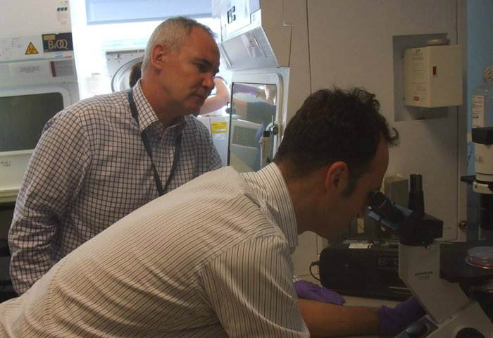 Researcher Brian Huntly observing a colleague looking into a microscope