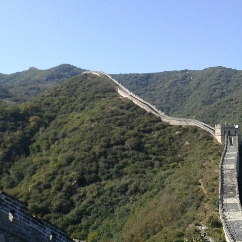 A scenic picture of the Great Wall of China stretching out into the distance