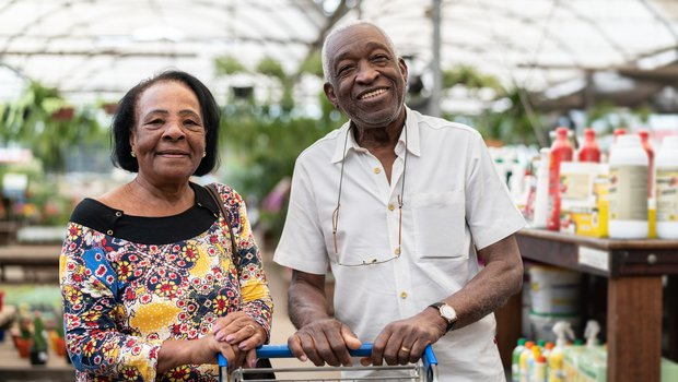 Older couple at a garden centre