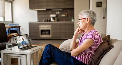 virtual appointment woman at home