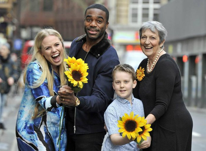 Ore Oduba and Calendar Girl Angela Knowles with Bloodwise ambassadors Sissy and Andrew