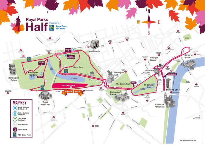 Royal Parks Half Marathon 2019 route map