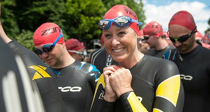 Triathletes prepare for the Blenheim Palace Triathlon